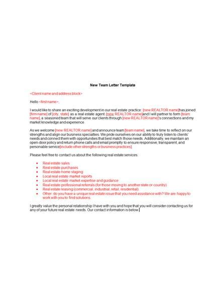 real estate announcement letter examples templates