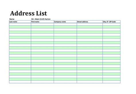 contact list template excel ipasphoto
