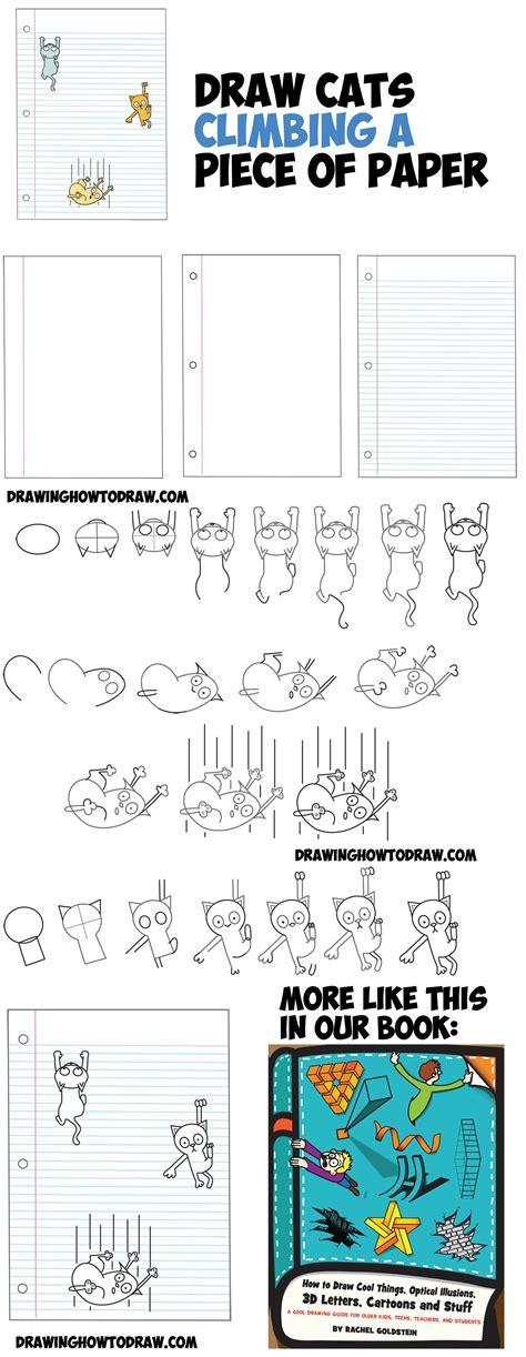 draw cartoon cats climbing lined paper  optical