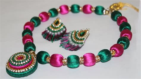 Silk Thread Beaded Necklace Making At Home (diy