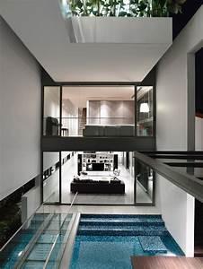 Sleek, Modern, Home, In, Singapore, With, Glass, Bridge, Over, Pool