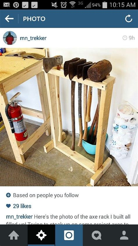 ax  sledge hammer rack idea tool workshop storage