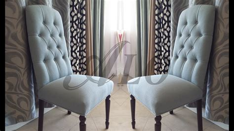 diy   reupholster  dining room chair  buttons