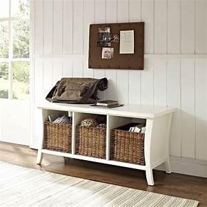 Mae, White, Entryway, Storage, Bench