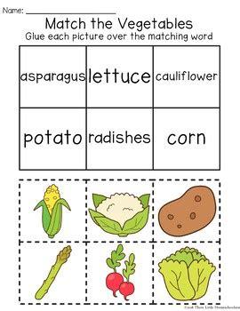 fruit  vegetable themed worksheets cut paste count