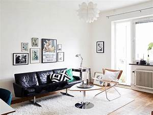 mid century modern living room coco lapine designcoco With salon avec canape noir