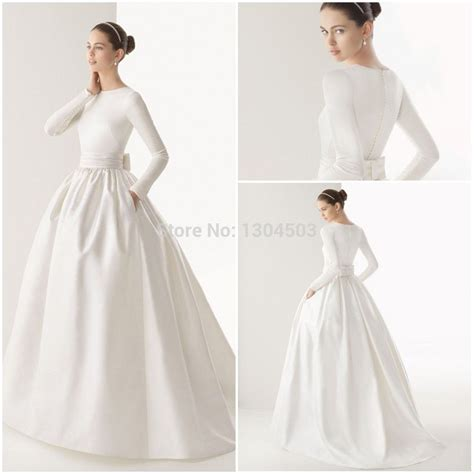 boat neck muslim wedding dress long sleeve sash bow