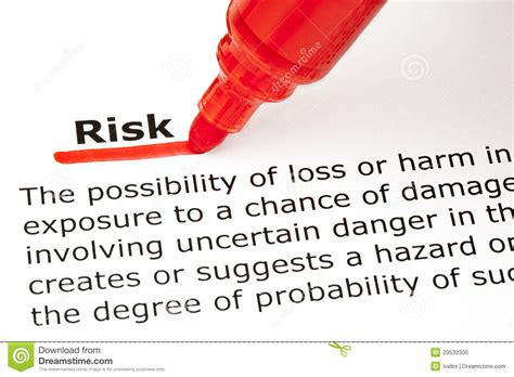 Risk Definition Stock Photo  Image 29530300