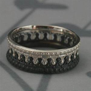 black and sterling silver crown band setcheck matecrown With gold king and queen wedding rings