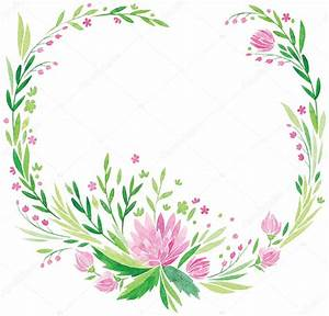 pink flowers and fresh green leaves vector watercolor hand ...