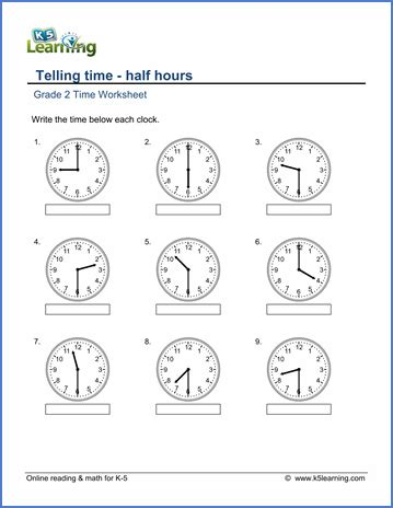 grade 2 telling time worksheets reading a clock half