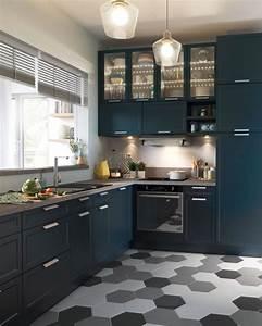 sol cuisine carrelage parquet et revetement deco cote With idee deco cuisine avec sol gris cuisine