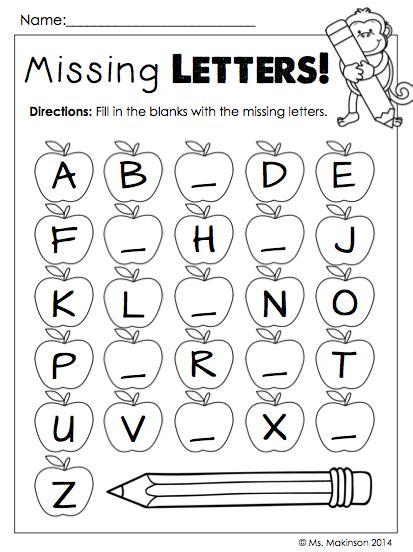 Missing Alphabet Worksheets  Kidz Activities