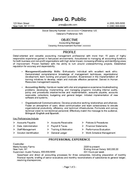 Federal Resume Template Accounting Manager Resume Accounting Manager Federal