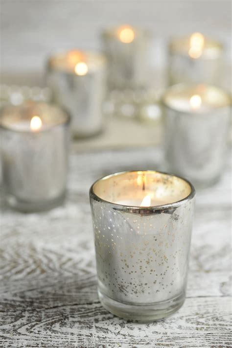 candles  silver mercury glass votive holders