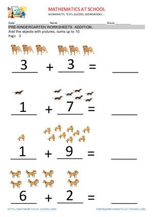 pre  addition worksheets adding     printable