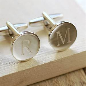 round initial cufflinks by highland angel With letter cufflinks