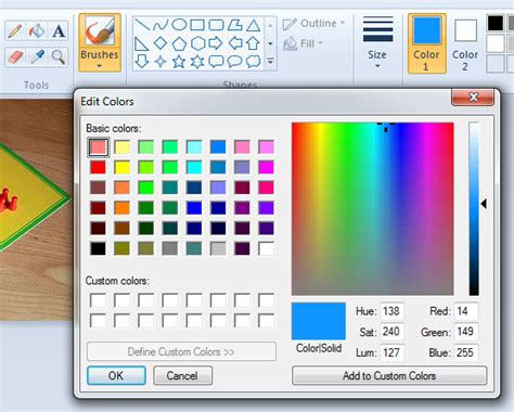 get color code in ms paint how to get html color code from an image using ms paint