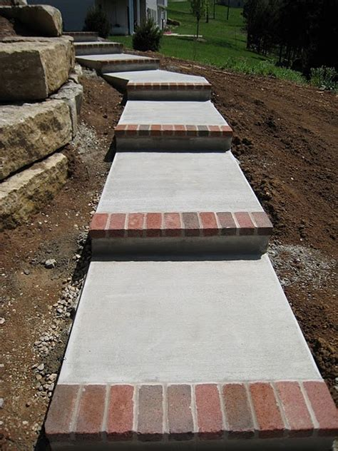 concrete steps with brick toe new house new style