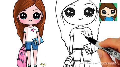 draw cute school girl easy  drawing blog