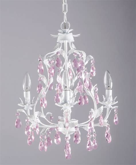 4 arm chandelier in white with pink