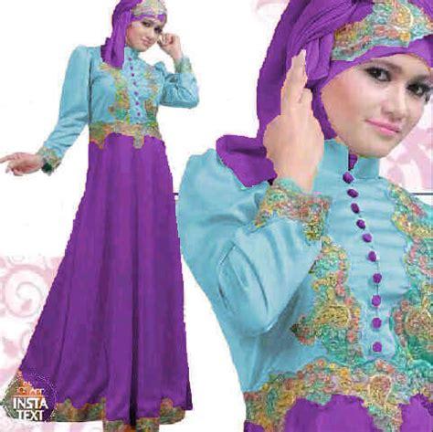 baju gamis pesta satin princess biru ungu  gaun saten