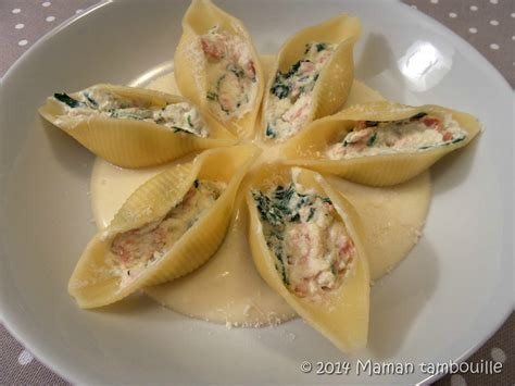 recette de cuisine pomme de terre conchiglies au saumon fumé épinards sauce comtoise maman