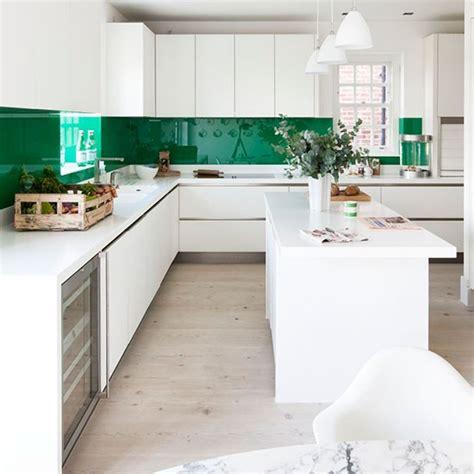 glossy green  white kitchen modern kitchen ideas