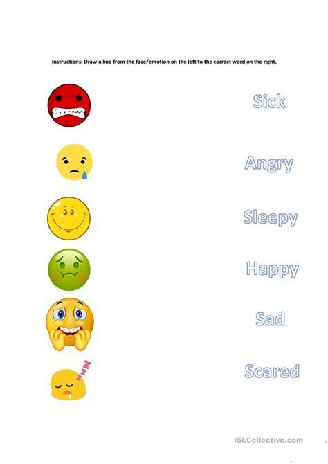 matching emotions worksheet  esl printable