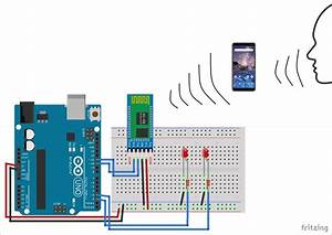 Bluetooth Via Voice Controlling Of Switching Leds