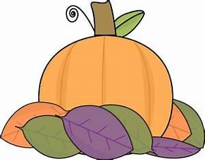 Small Pumpkin with Autumn Leaves Clip Art - Small Pumpkin ...