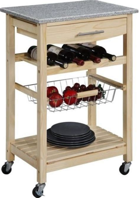 Linon 44037NAT 01 KD U Kitchen Cart with Granite Top in