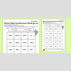 Phase 5 'ue' Phonics Words  Colour By Phoneme, Real And Nonsense Words