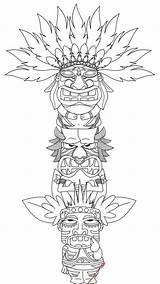Totem Pole Coloring Printable sketch template