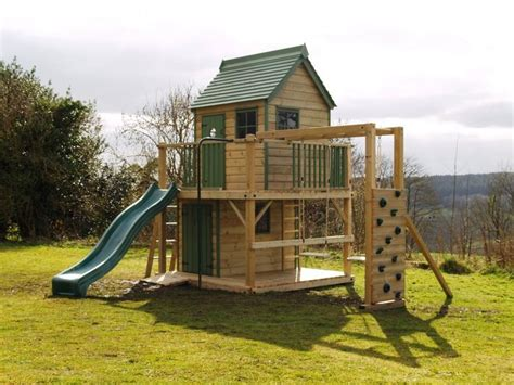 impressive wooden playhouse construction design  green