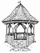 Gazebo Sketch Drawings Coloring Template Colouring sketch template