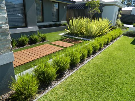 plants for walkway landscaping ideas outdoor garden exciting small plants with green grass and teak walkway for modern front yard