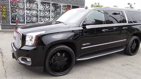 gmc yukon xl denali custom   black rims