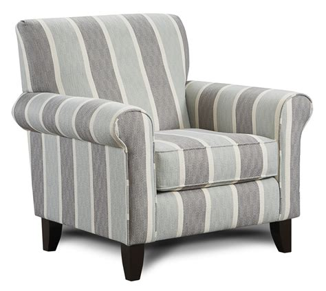 blue and gray striped accent chair