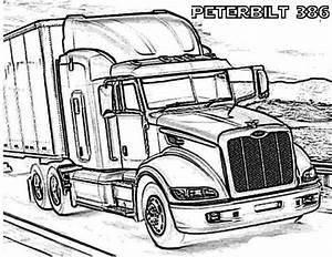 A Peterbilt 386 Semi Truck Coloring Page Truck Art