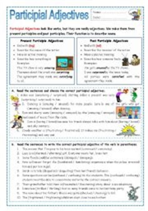 teaching worksheets participial adjectives