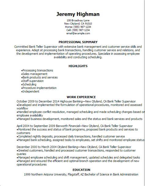 teller resume exle professional bank teller supervisor resume templates to
