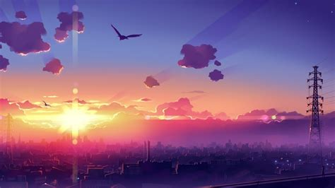 drawing colorful cityscape anime wallpapers hd