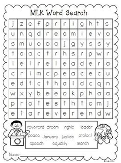 martin luther king word search freebie grades 1 2