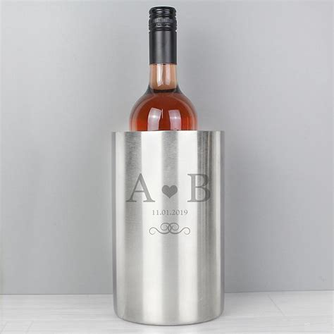 personalised monogram stainless steel wine cooler gift moments