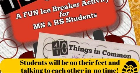 Free Ice Breaker Is Perfect For Middle And High School
