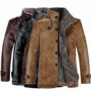 Fashion Men's Winter Jacket Leather Coat Fur Parka Fleece ...