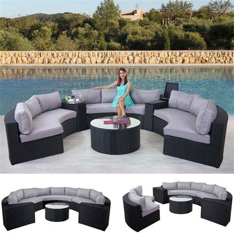 polyrattan lounge rund luxus poly rattan garnitur savoie sitzgruppe lounge set rund anthrazit kissen grau
