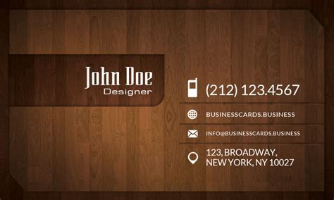 Free Wood Business Card Template : Business Cards Templates