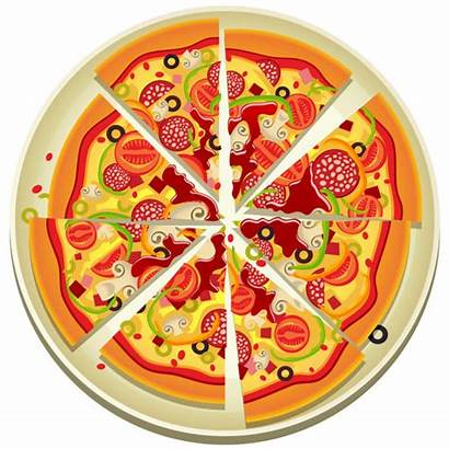 Pizza Clipart Whole Clip Slices Plate Vector